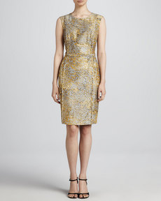 Escada Leopard-Print Sheath Dress, Anthracite