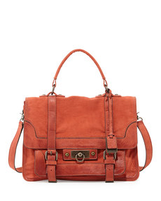 Frye Cameron Distressed Leather Satchel Bag, Coral