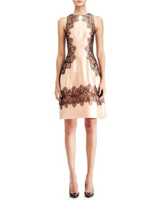 Embroidered A-Line Halter Dress, Blush/Black   Embroidered A-Line Halter Dress, Blush/Black