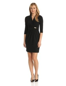 Ellen Tracy Women's Long Sleeve Crepe Surplice Dress