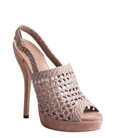 Gucci rose and lavender basket weave leather platforms