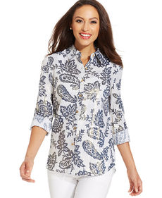 Charter Club Metallic Paisley-Print Button-Down Shirt