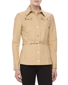 Michael Kors Broadcloth Utility Jacket, Sandstone
