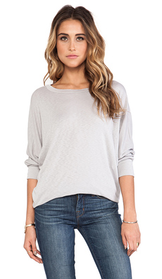 Michael Stars 3/4 Sleeve Wide Neck Dolman Tee in Gray