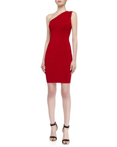 Laundry by Shelli Segal One-Shoulder Shimmer Sweater Dress, Parisian Red
