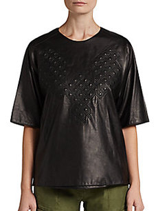3.1 Phillip Lim Quilted Leather Phoenix Tee