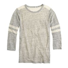 Linen baseball tee in colorblock