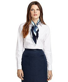 Non-Iron Tailored Fit Triple Thin Stripe Dress Shirt