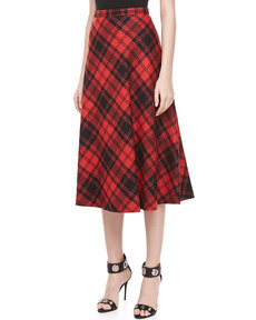 Michael Kors Fairfax Plaid A-line Skirt, Black/Crimson
