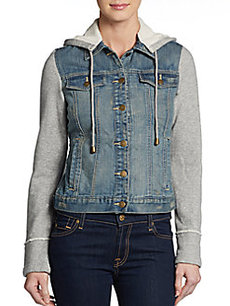 Saks Fifth Avenue GRAY Hooded Denim Jacket
