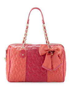 Betsey Johnson Be My Wonderful Barrel Bag, Red/Fuchsia
