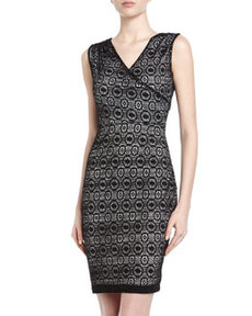 Marc New York by Andrew Marc Pleated Lace Crepe Sheath Dress, Black
