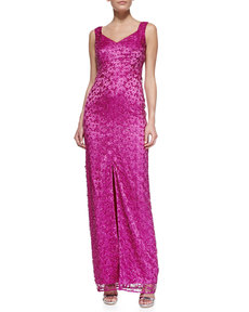 Kay Unger New York Sleeveless Metallic Long Gown