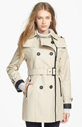 London Fog Asymmetrical Soft Shell Trench Coat (Regular & Petite)