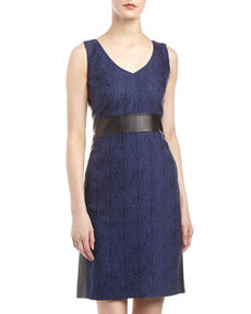 Lafayette 148 New York Faith Textured Leather-Side Dress, Dusk