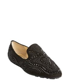 Jimmy Choo black jewel studded leather loafers