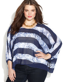 MICHAEL Michael Kors Plus Size Striped Batwing-Sleeve Blouse