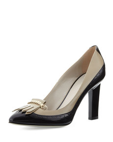 Jason Wu Two-Tone Brogue Kiltie Pump, Beige/Black