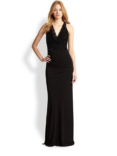 David Meister Beaded-Bodice Gown
