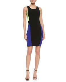 Color-Panel Sleeveless Body-Con Dress   Color-Panel Sleeveless Body-Con Dress