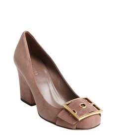 Gucci old mauve suede buckle vamp pumps