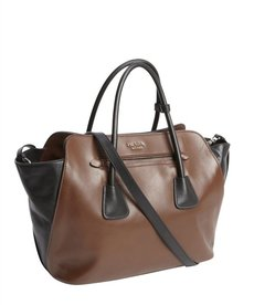 Prada brown and black leather convertible top handle bag