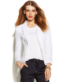 MICHAEL Michael Kors Petite Two-Button Cotton Eyelet Blazer