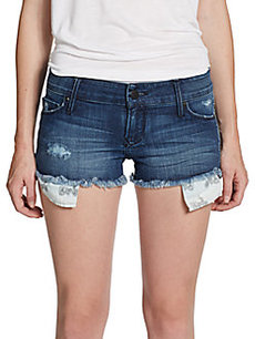 Saks Fifth Avenue GRAY Frayed Denim Shorts