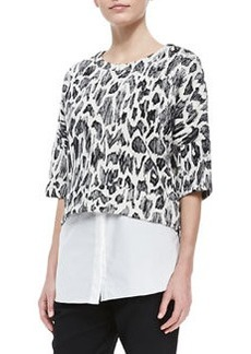 Derek Lam 10 Crosby 2-in-1 Printed Combo Sweatshirt
