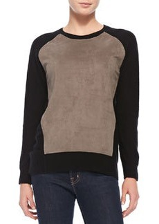 Derek Lam 10 Crosby Cashmere Sweater with Suede Front Panel