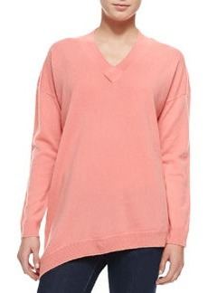 Derek Lam 10 Crosby Cashmere V-Neck Sweater with Asymmetric Hem