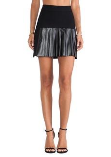DEREK LAM 10 CROSBY Leather Pleats Skirt in Black