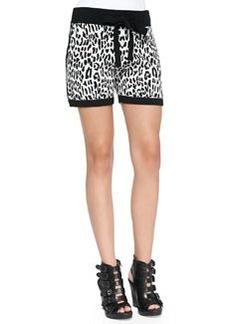 Derek Lam 10 Crosby Leopard-Print Jacquard Track Shorts