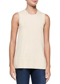 Derek Lam 10 Crosby Sleeveless Flared Printed-Back Top, Nude/Camel Leopard