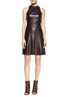 Derek Lam 10 Crosby Sleeveless Leather Fit & Flare Dress