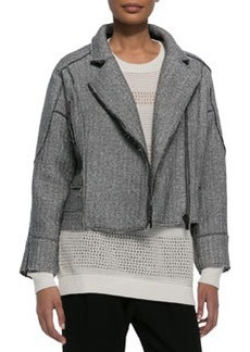 Derek Lam 10 Crosby Sweater-Knit Moto Jacket