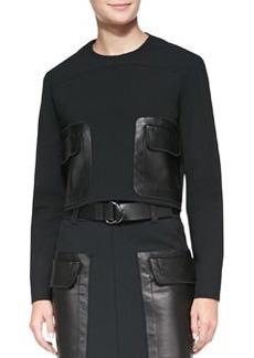 Leather-Pocket Twill Top   Leather-Pocket Twill Top