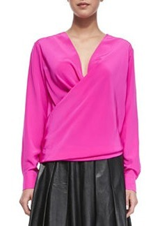 Long-Sleeve Drape-Front Blouse, Shocking Pink   Long-Sleeve Drape-Front Blouse, Shocking Pink