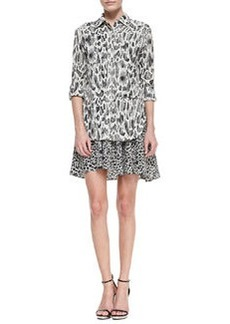 Tiered Mixed-Print Shirtdress   Tiered Mixed-Print Shirtdress