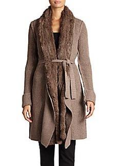 Giorgio Armani Rabbit Fur-Trimmed Wool & Cashmere Cardigan