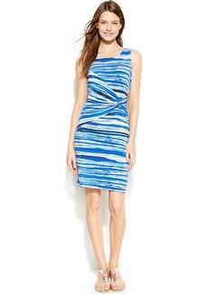Calvin Klein Petite Sleeveless Striped Ruched Sheath