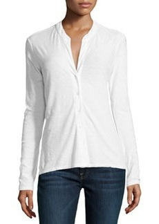 James Perse Slouchy Button-Front Slub-Knit Blouse, White