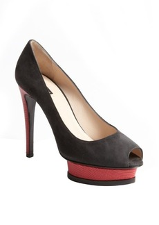 Giorgio Armani grey suede and hot pink embossed leather platform pumps