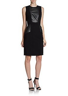 Calvin Klein Faux Leather-Trimmed Sheath