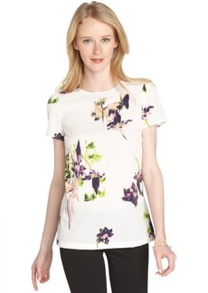 French Connection white floral print stretch crepe short sleeve blouse
