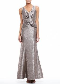 David Meister Sleeveless Long Jacquard Gown