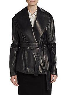 Donna Karan Leather Shawl-Collar Belted Coat