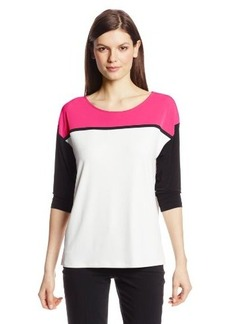 Calvin Klein Women's Knit Three-Quarter Sleeve Color-Block Top