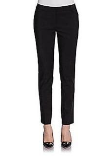 Saks Fifth Avenue BLACK Slim-Leg Stretch Cotton Pants