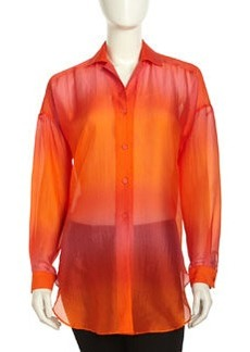 Lafayette 148 New York Ombre Silk Chiffon Blouse, Dayglow Multi